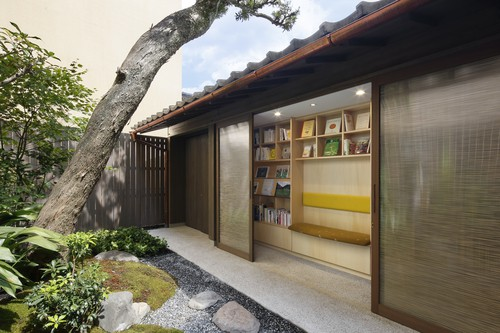 Japanese garden with library