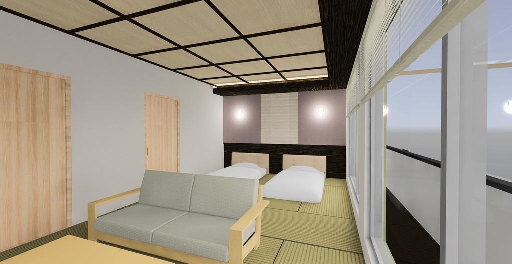 畳の上にツインベッド、寛げる和空間