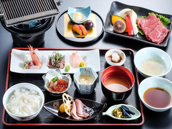 【夕食】県産黒毛和牛陶板焼き
