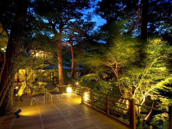 【テラス】昼間とは違う雰囲気を見せる夜のライトアップ、温泉旅館でロマンチックなお時間を