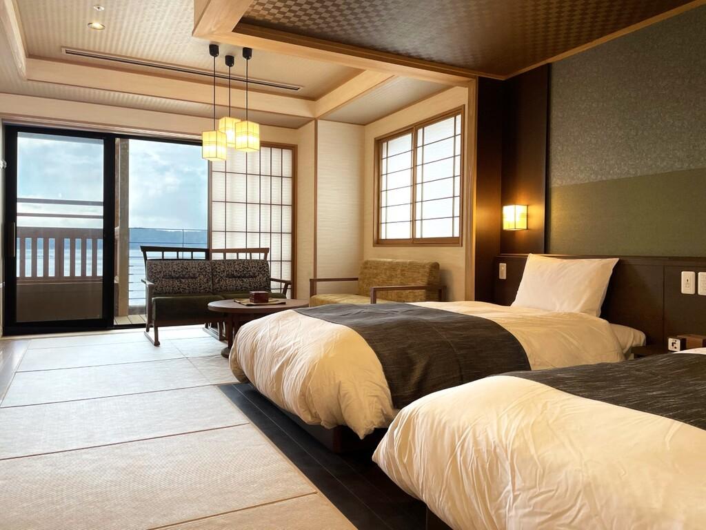 【客室】和洋フォース(天然温泉露天風呂付)56�uのゆとりある空間の4名様定員のお部屋