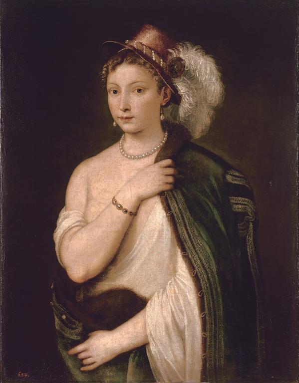 ティツィアーノ・ヴェチェッリオ《羽飾りのある帽子をかぶった若い女性の肖像》