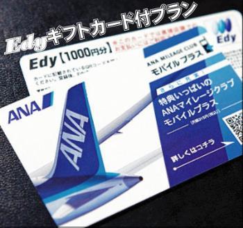 【Edyギフトカード1000円】付プラン-シャリ~ン♪で便利です-