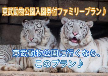 【東武動物公園 入園券付プラン】東武動物公園に行かれるならもって来いのプランです♪