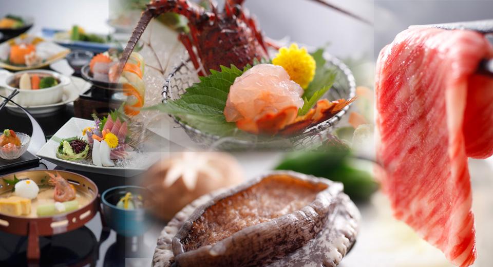 伊勢海老造り・鮑網焼き・松阪肉の3品揃い膳