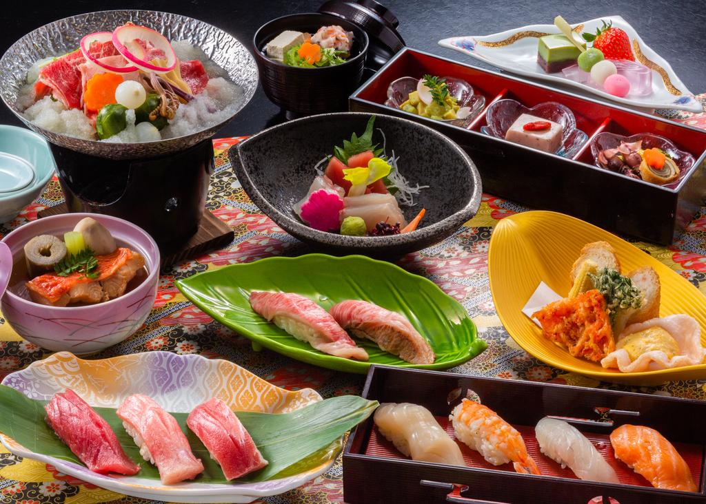 寿司会席イメージ。握り寿司に加え金目鯛の煮つけや鍋も(イメージ)。