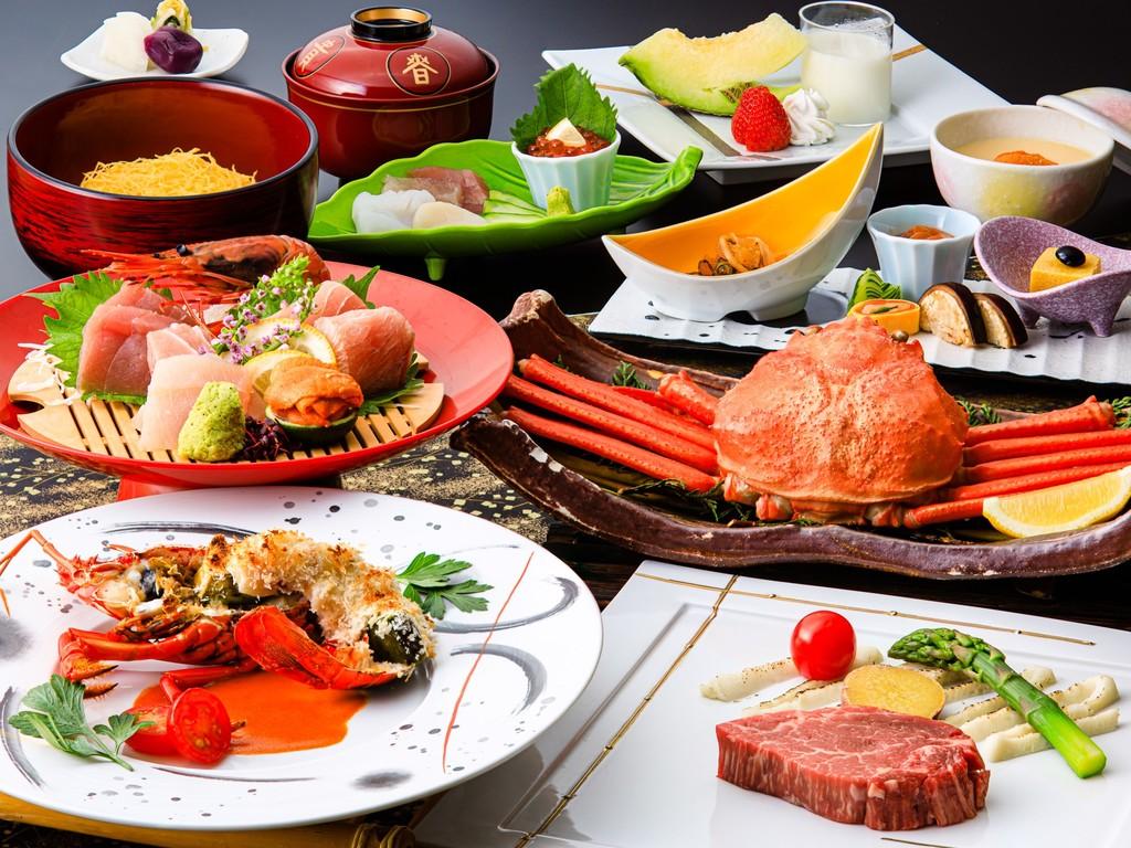 お料理イメージ。伊勢海老や和牛など高級食材を使用した豪華メニュー。(2019/7/1〜9/10のメニュー一例・イメージ)