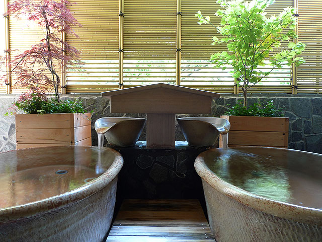 家族で入れるプライベート重視の貸切風呂付、内湯と外湯が付いた贅沢な作りです。