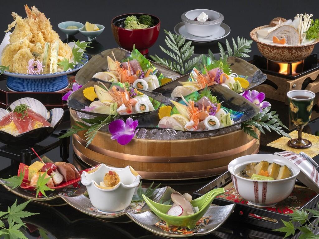 「おまかせ会席」料理イメージ(お造り・天婦羅は4名盛り)※2021年10月〜2022年3月