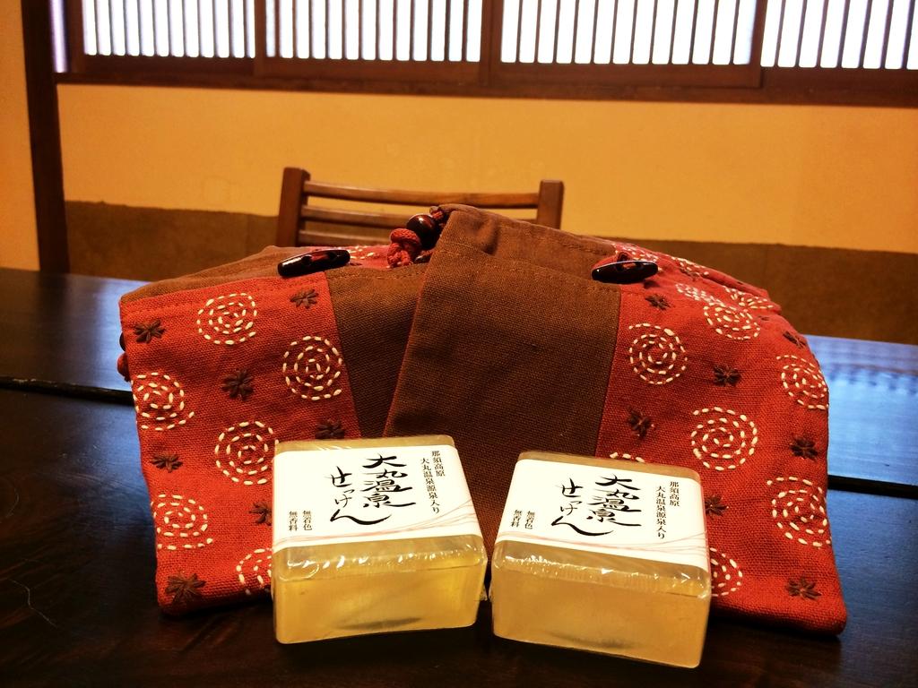 大丸温泉オリジナル石鹸と巾着をプレゼント