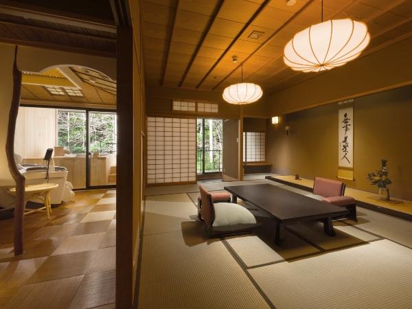 プレミアムフライデーのご宿泊には、海石榴「迎賓館」の露天風呂付のお部屋をご用意いたします。