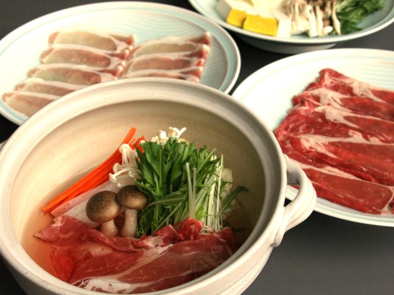 夕食は牛と豚しゃぶしゃぶ食べ放題!!