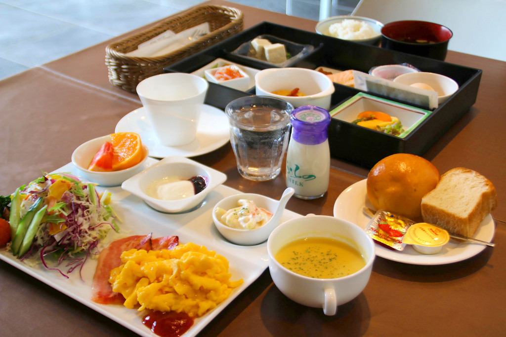 Japanese style and Western style breakfast