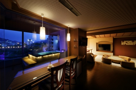 2014年春リニューアルOPENの新客室展望風呂付コーナースウィート「ふうわり」客室一例