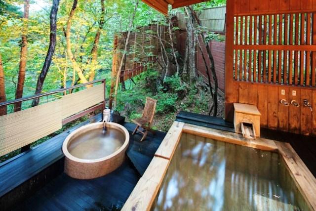 離れの貸切風呂「あけびの湯」浴室一例
