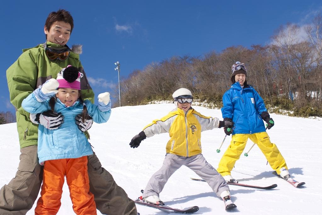 親子でスキー!
