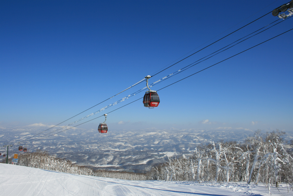 Blue skies and warm weather make for great skiing conditions.