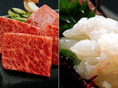 芳醇な味わい「淡路牛」と秋の味覚「海老」の饗宴(料理イメージ)