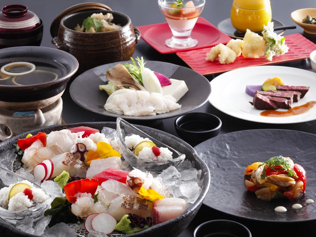 鳴門海峡で獲れた新鮮な魚介類や淡路牛などの吟味された特選食材を堪能する逸品会席≪料理イメージ≫