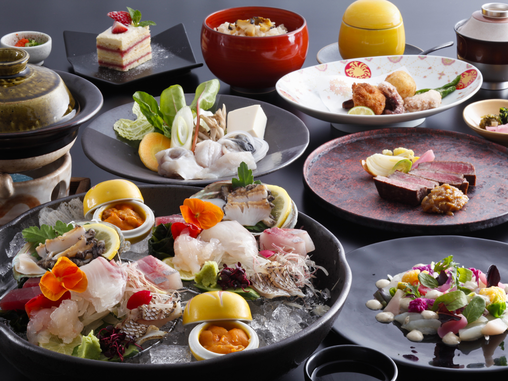 鳴門海峡で獲れた新鮮な魚介類や淡路牛などの吟味された特選食材を堪能≪料理イメージ≫