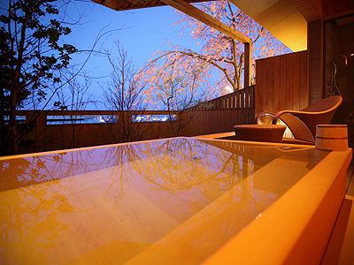 プライベートな湯浴みを露天風呂で