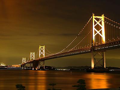 夜の瀬戸大橋から讃岐へ