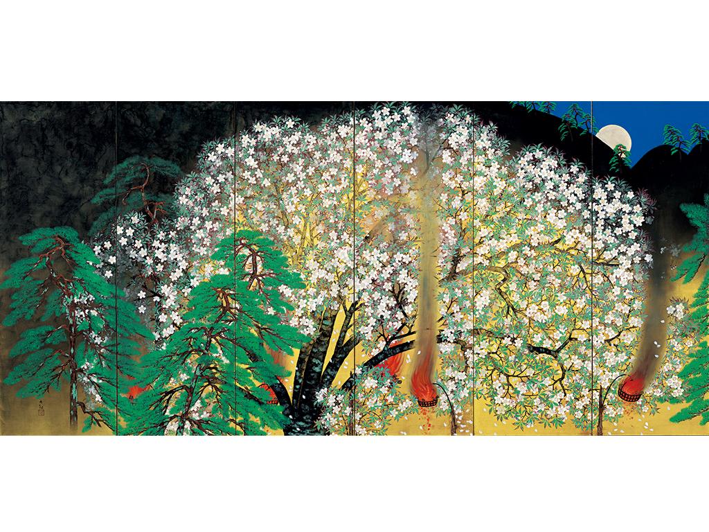 「夜桜」横山大観筆 昭和4年(1929)(左隻) 展示期間:11月6日〜12月9日