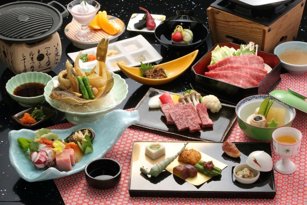 ご夕食例 極上神戸牛のしゃぶしゃぶがメインの12品