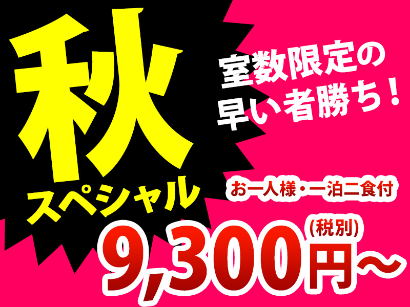 秋スペシャル!お部屋おまかせ!9300円(税別)から!