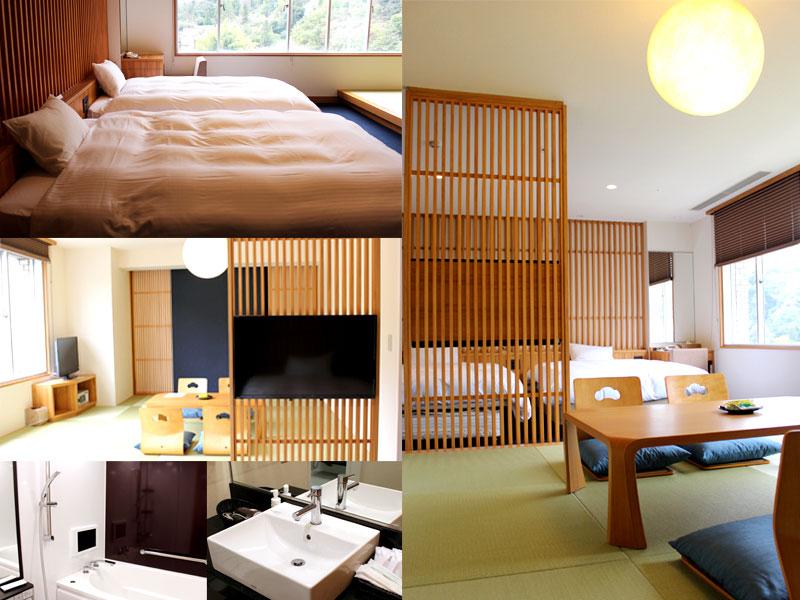 本館【新】和洋室 山側のお部屋 どこか木の温もりを感じるお部屋に、窓の外には山や湯けむりが♪