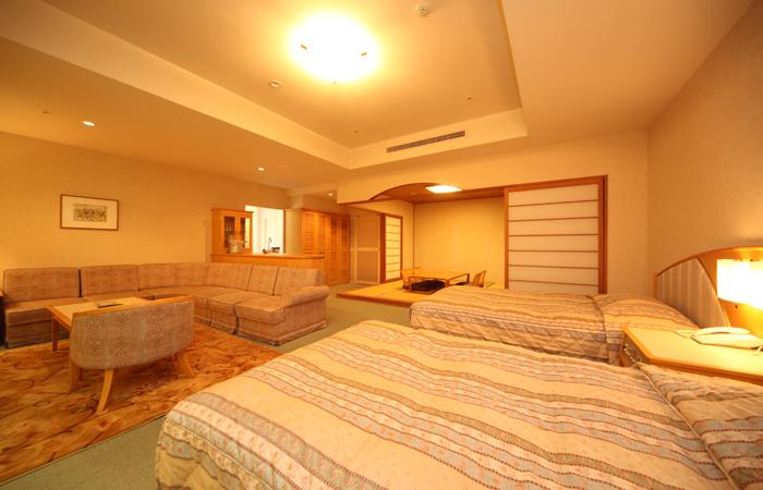 広々72�uの和洋室。三世代旅行でもみんなで泊まれる!
