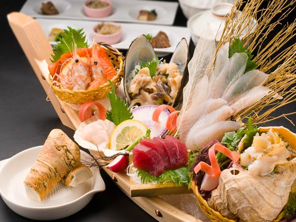 新鮮な前浜産の魚介類