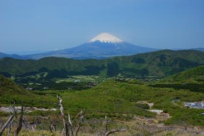 大湧谷から望む富士山